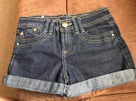 Girls dark denim shorts age 9-10