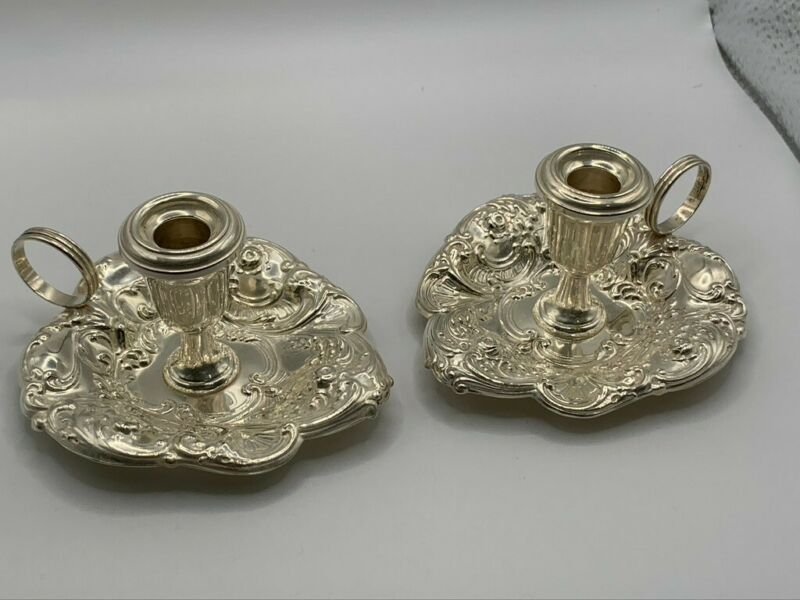 Gorham sterling pair of repousse sterling chamberstick candle holders #324