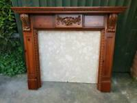 Solid wood fire surround and marble backplate