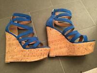 Cobalt blue high wedge shoes