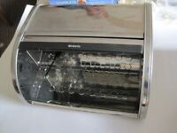 BRABANTIA CHROME BREADBIN WITH ROLL TOP FRONT , NEVER USED
