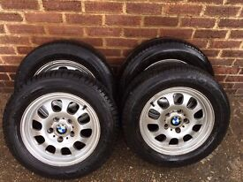 """4 BMW 15"""" Wheel Rims and Tires"""