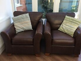 2 Marks and Spencer's brown leather Abbey armchairs