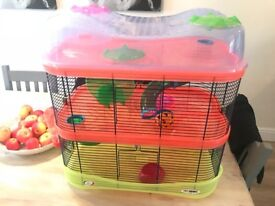 Large three tier hamster cage, ball and accessories