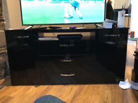 Black tv unit 2 cupboards 3 draws area For DVD player etc excellent condition H 74cm, w 149cm, d38cm