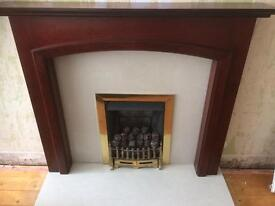 Gas fire, marble hearth and surround