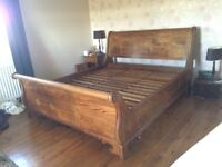 Super king double bed - sleigh bed with soapstone inlay by barker and stonehouse