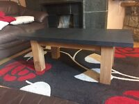 Solid Oak and Welsh Slate Coffee Table