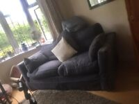 Sofa 3 seater in blue with comfortable goose and down feather cushions. Hand made with wooden frame.