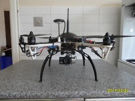 550 Hexacoper with 3 camra's and takes 2 battrey and will fly for 1 hour . all part's are high speck