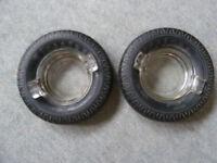 Pair of vintage Firestone tyre ashtrays