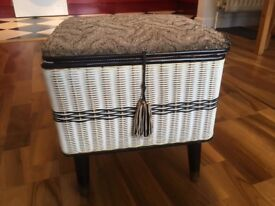 Vintage Sewing Box - retro style black and white with legs