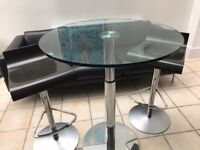 Ligne Roset Glass Bobine Table and 2 Chairs