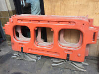 6 moulded plastic road barriers / close off street H+S equipment. These are used items and dusty!
