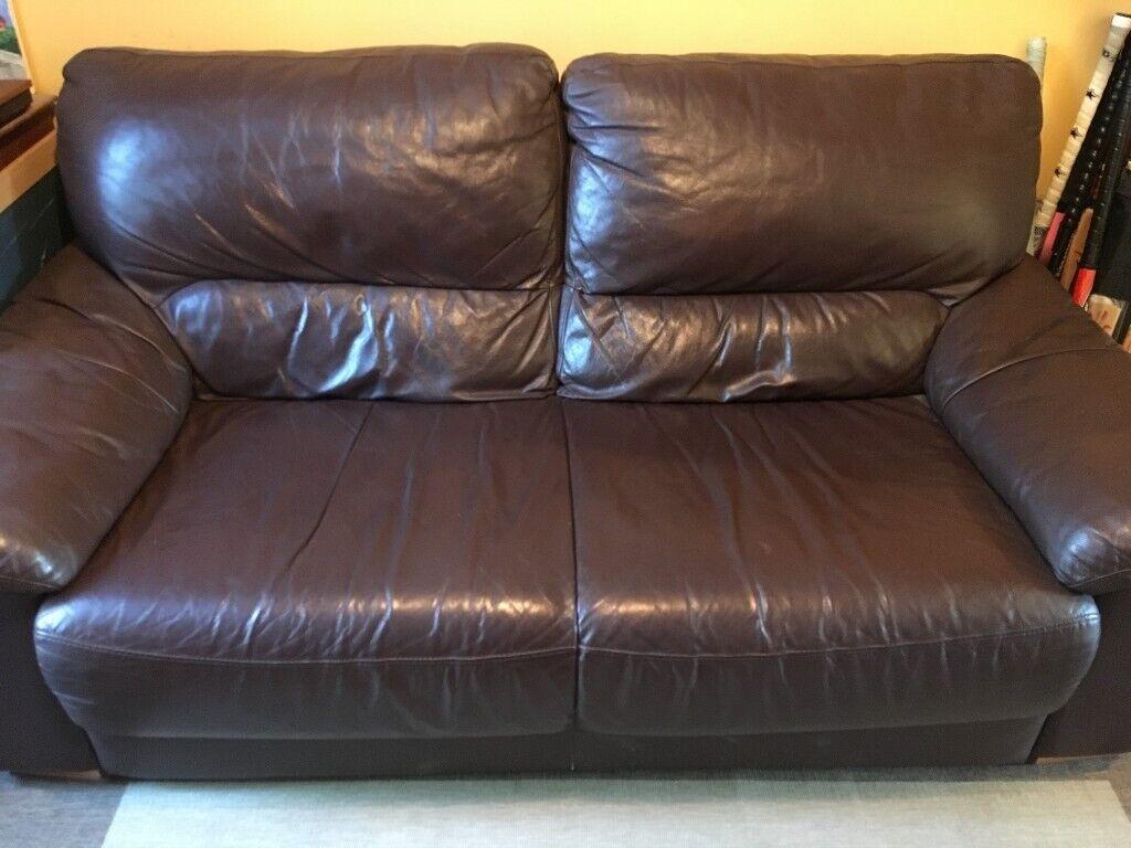 Brown Faux Leather Sofa For Sale In Beckenham In Beckenham