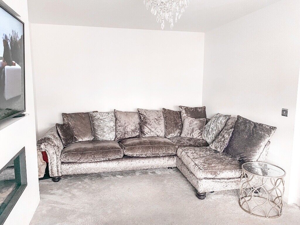 Picture of: Corner Sofa And Swivel Chair Grey Velvet In Coatbridge North Lanarkshire Gumtree