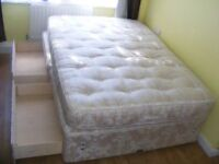 CAN DELIVER - DOUBLE DIVAN BED WITH 4 DRAWERS AND BACK CARE DELUXE MATTRESS IN VERY GOOD CONDITION