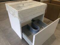 Mino 500 vanity unit and basin - white gloss