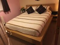 Nearly new king size double bed, drawers and mattress