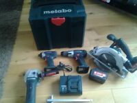 Metabo tool set with 2 battery like new