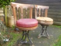 RARE PAIR VICTORIAN OCEAN LINER SWIVEL CHAIRS CAST CRUIKSHANK STAMPED BASES