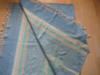 large striped cotton rug (main colour blue with cream, pink, brown)