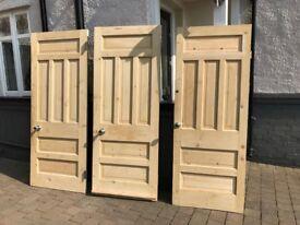 Three Solid Wood Paneled Internal Doors