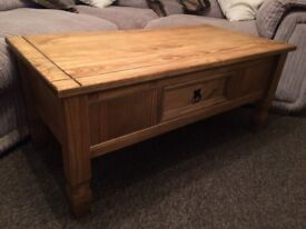 @@MEXICAN PINE COFFEE TABLE WITH DRAWER@@