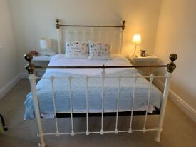Lovely Metal Double Bed For Sale - Cream and Gold - Collection Only - No Mattress