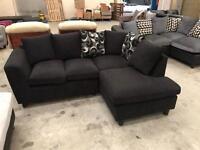 Brand new black velvet corner sofa