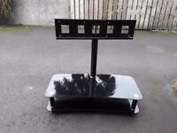 Black Glass T V Stand