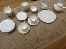 Duchess ascot fine bone china white with gilt edging tea set and side plates and serving plates