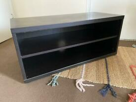 Black wooden tv stand shelves