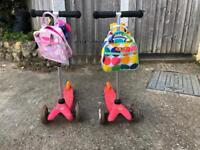 2 Pink Mini Micro T-bar Scooters