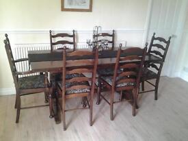 6 Seater Dark Oak Dining Table