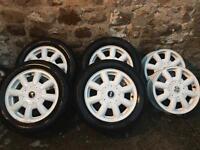 Mini cooper white alloys and Pirelli tyres