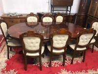 Italian style dining table and 8 chairs