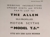 Allen Scythe (copy) original instructions and parts list plus Villiers 2 stroke tech info