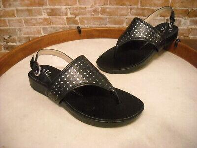 Isaac Mizrahi Black Leather Taken Cutout Thong Sandal NEW