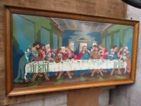 Stunning very large worked tapestry depicting The Last Supper (glazed) in hand carved oak frame