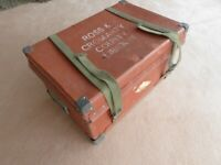 Vintage trunk chest strong box straps with lid genuine retro tan brown