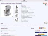 Professional Sirman 7 litre compact planetary mixer