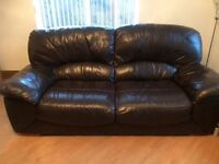Real Leather Dark Brown Couch - 2 Seater & 3 Seater