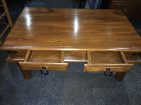 Splendid Rustic Heavy Mexican Hardwood Coffee Table with Two Storage Drawers