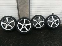 "ALLOYS, 4 excellant condition 18"" genuine Jaguar ""proteus"" alloys with nearly new tyres"