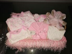 Baby gift basket with croquet blanket