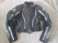 Rocha Ladies leather motorbike jacket size 12. Matching leather jeans also available size 8