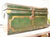 Tin Trunk. Old storage container.
