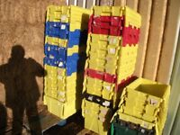 Attached lidded Plastic storage crates
