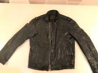 Mens All Saints Spitalfields Leather Jacket